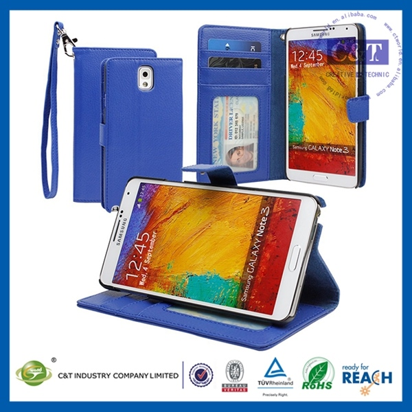 Simple design full window leather flip cover case for note 3