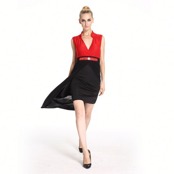 Hot Quality Professional Sleeveless Turtleneck Dress