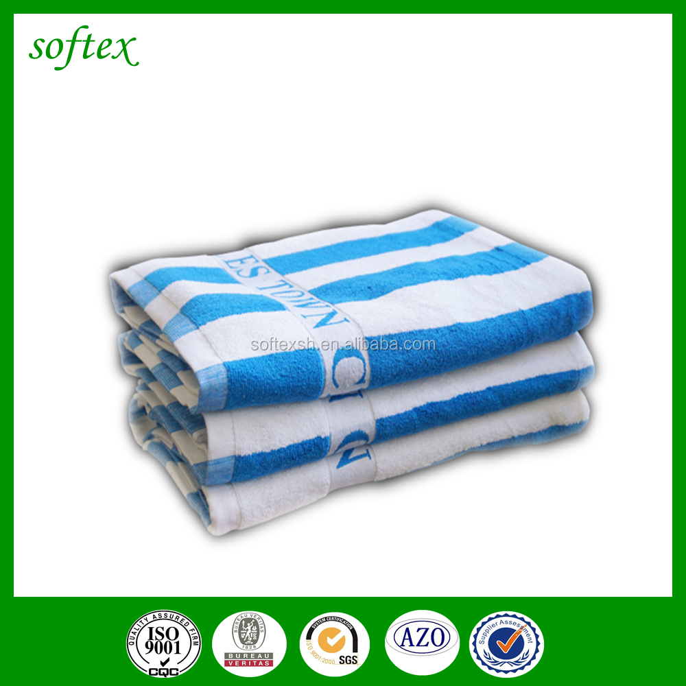 Stock wholesale lot custom cotton thick blue white stripe beach towel