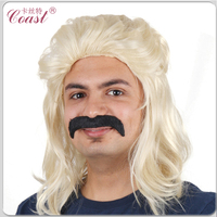 mens cheap blond long synthetic mullet wig with mustach