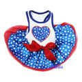 Blue Star Red White 4th July Patriotic Heart World Cup Football Dogs Clothes Party Dress XS-L