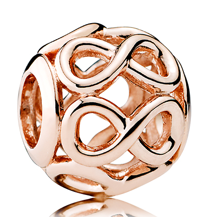 Custom 925 Sterling Silver Rose Gold Plated Infinite Shine Charm