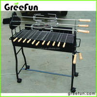 Wholesale Charcoal Cyprus BBQ Grill With Skewer Factory , Meat Brazil Grill Smoker , Trolley Roast Rotisserie Barbeque Grill