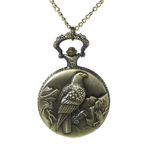 Wholesale Round Antique Bronze Eagle Pattern Carved Vintage Pocket Watches