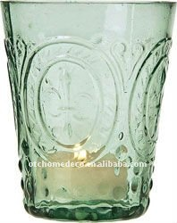Ice blue embossed glass candle holder