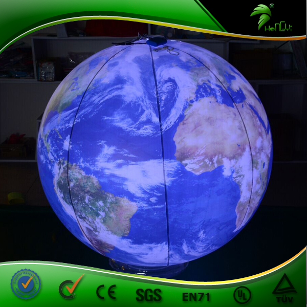 LED Lighting Inflatable Heium Map Balloon , Giant Inflatable Sphere Earth Globe , Inflatable Beautiful Decorative Planets