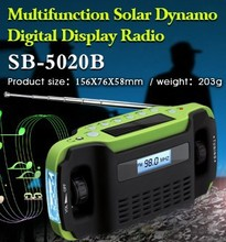 SORBO Solar Powered Dynamo Hand Crank Flashlight Radio with AM FM Portable USB Rechargeable Cell Phone Charger with CE RoHS