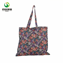 Floral design women long handle reusable polyester shopping bag