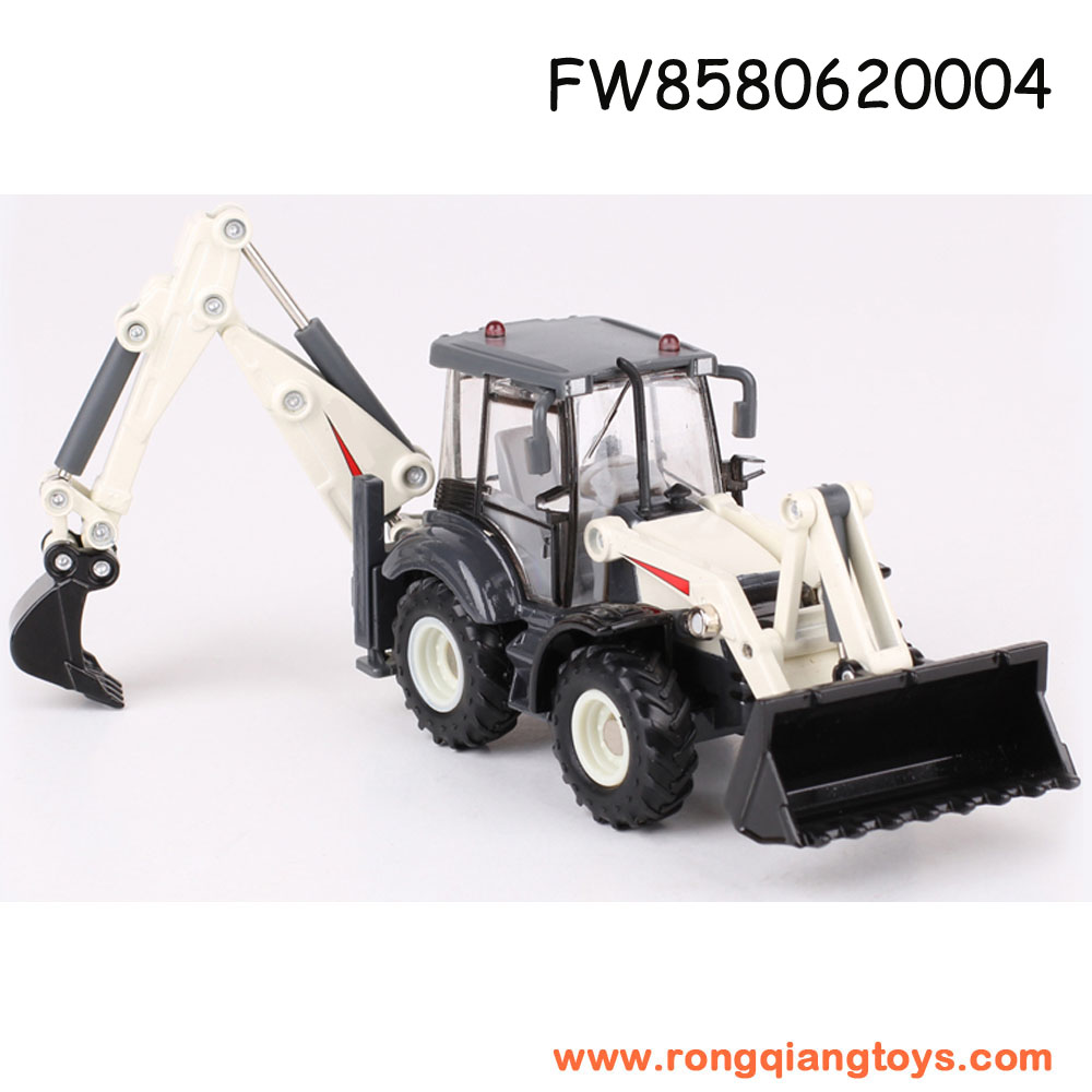 Wholesale diecast mini free wheel model truck 1:50 alloy small backhoe loader toy for sale FW8580620004