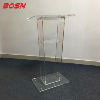 Easy Assembly Clear Acrylic Podium Lectern Pulpit for Floor with Open Back and Shelf