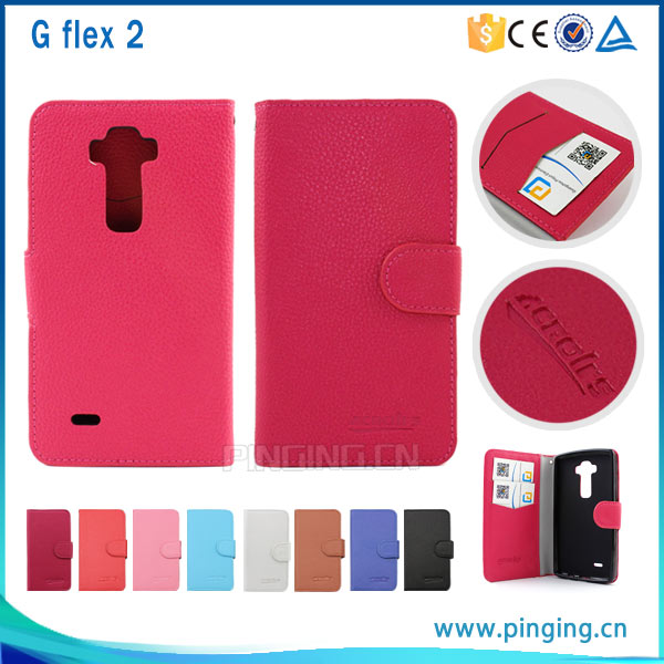 New product Litchi grain pu leather wallet case for LG G flex 2 ,back cover for LG G flex 2