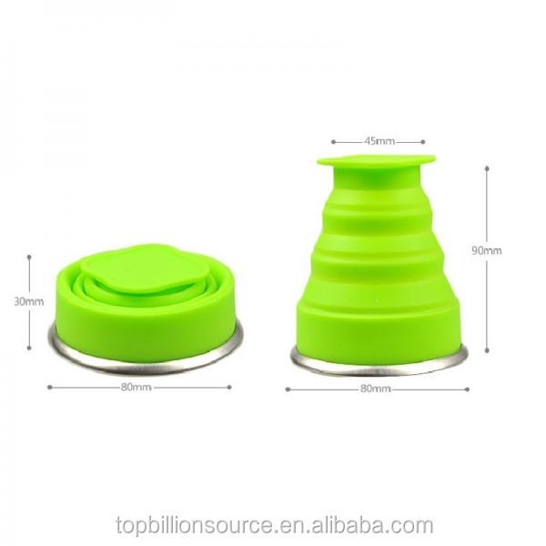 2018 Food grade unbreakable portable silicone foldable cups