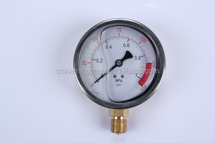 Durable LightWeight Easy To Read Clear Bourdon Sedeme low air pressure gauge alarm