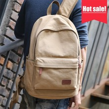 Shenzhen promotional vintage blank plain cotton canvas satchel rucksack boys schoolbag backpacks for men
