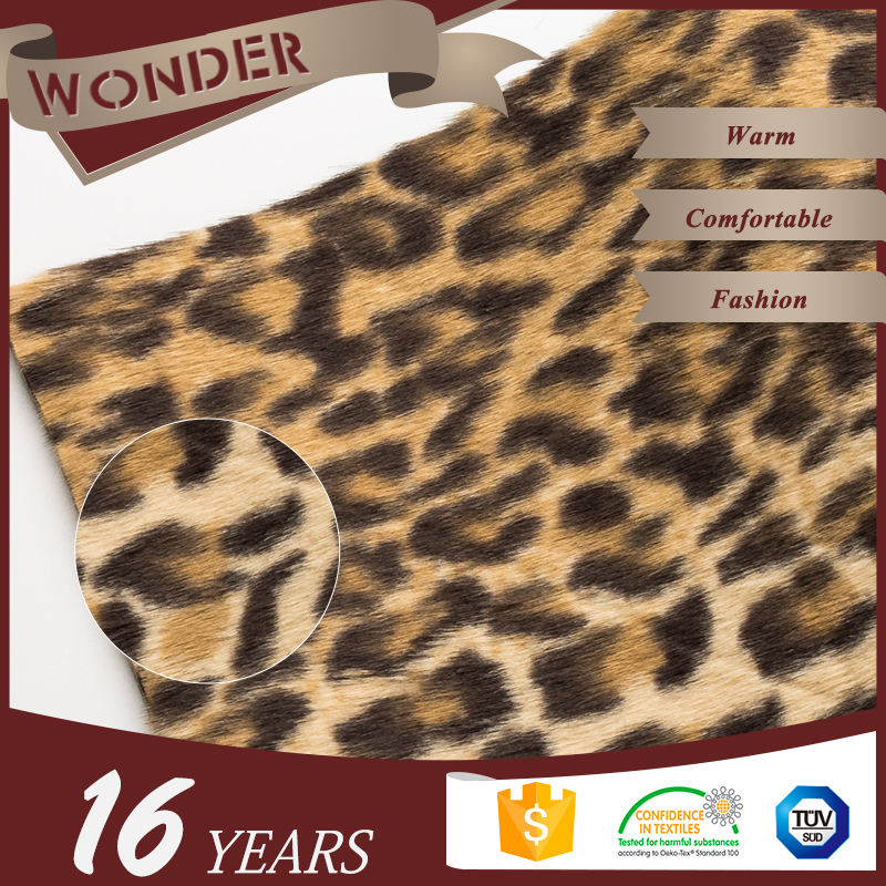 High Quality Hot Sale Leopard Printed Small Fur Bonded Artificial Fur Fabric