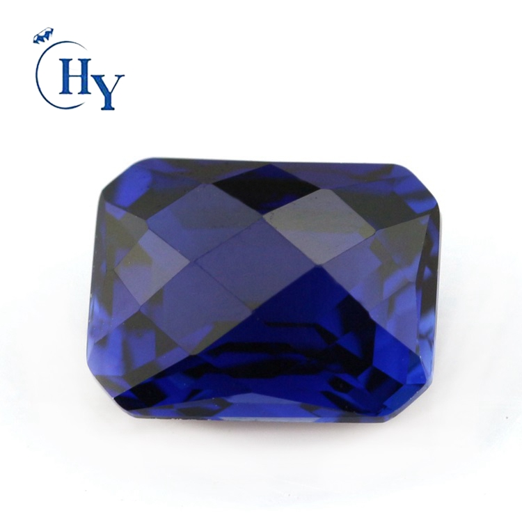 Facet checkerboard octagon cut synthetic sapphire beads