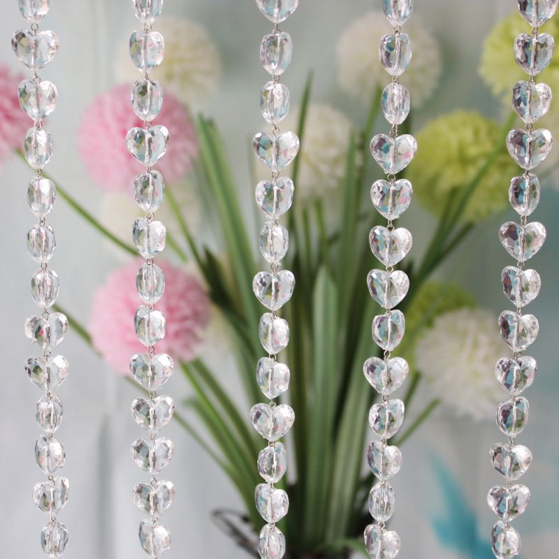 Hot Sale Factory Wholesale Price 12*17*19MM Heart Shape Acrylic Crystal Color String Curtain For Wedding And Home Decorations