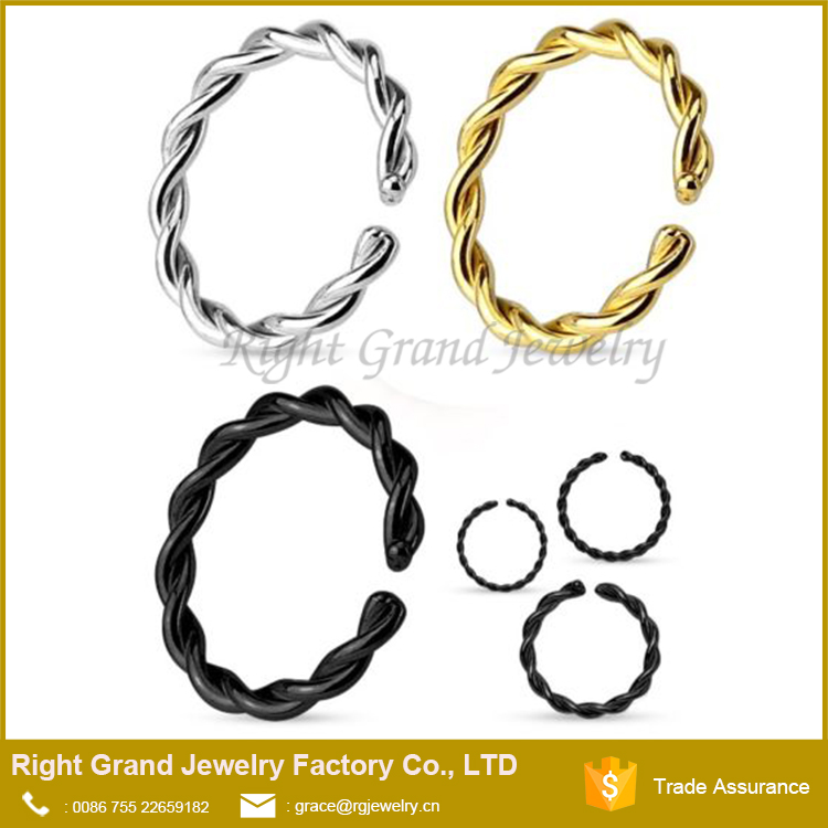 Surgical Steel Gold Rainbow Plated Twisted Nose Ring Hoop Seamless Cartilage Seputm Piercing