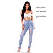 Blauw hoge taille butt lift perfect fit sexy party wear jeans factory dames mode groothandel voorraad jeans