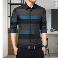 Formal &leisure stripe collar pocket men shirt 100% cotton shirt DCZ- 2258
