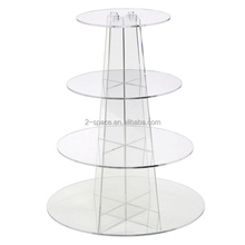 Clear Wedding Cake Stand 4 Tier Round Cupcake Display Perspex Cupcake Stands