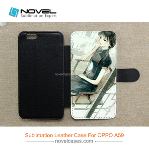 sublimation leather wallet case for Oppo A59,diy mobile cover