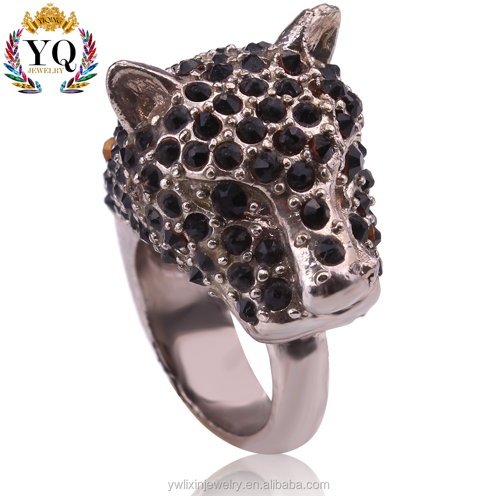 RLX-00130 crystal animal head ring leopard shape silver ring designs for men
