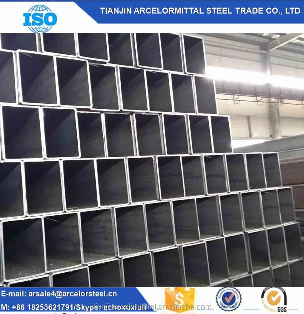 100*50*2.5 Q235 ERW Rectangular Steel Pipes and Tubes / Black Carbon Oiled Rectangular Hollow Section