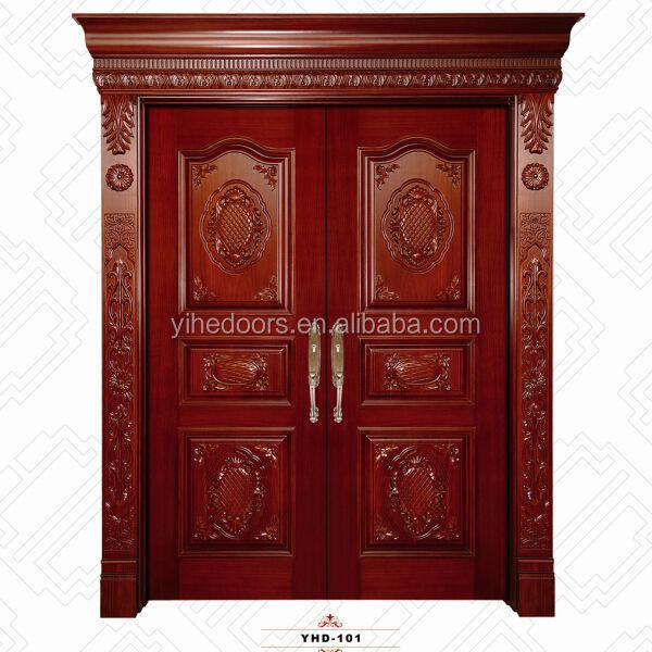 Double Panel Wood Door Plain Wooden Door Polish Wood Door