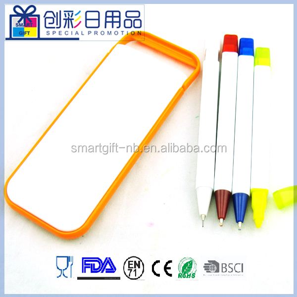 4in 1 Iphone shaped special ball pen with chalk markers/fluorescent pen/promotional stationery set