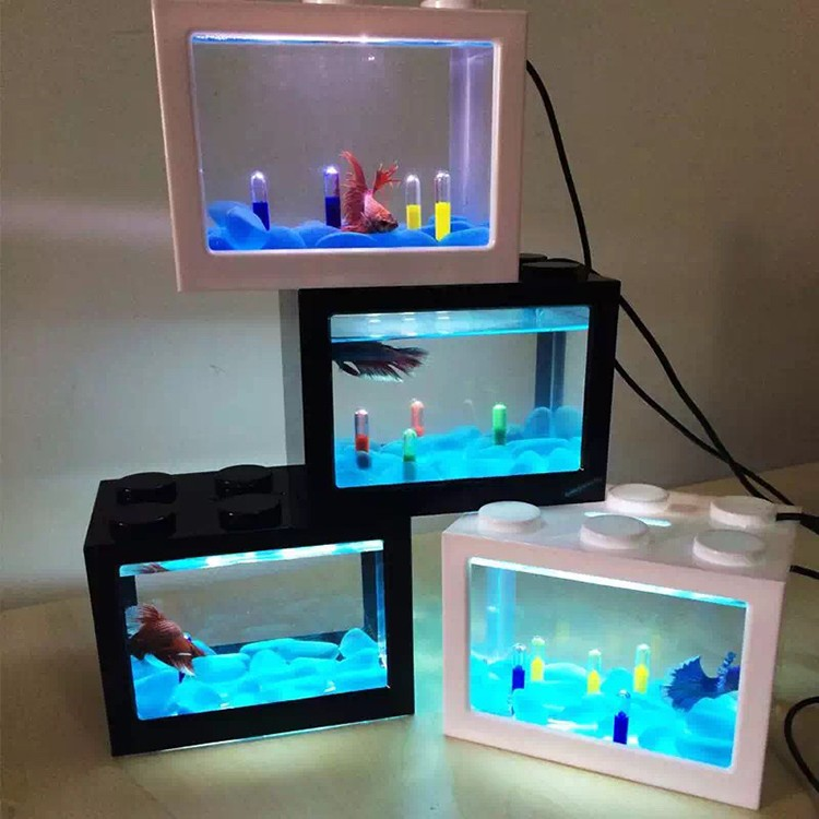 2018 Hot sale aquarium <strong>fish</strong> tank with USB LED lighting for christmas gift