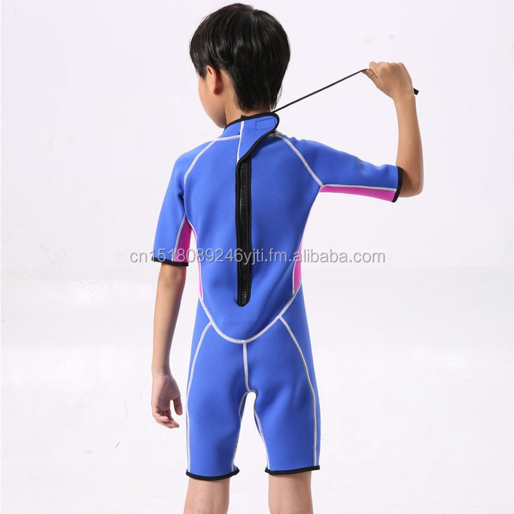 kids wetsuits short leg scuba dive swimming suit pink blue (4).jpg