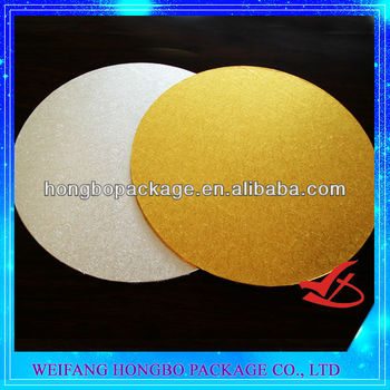 "16"" round foil laminated wooden gold cake board"