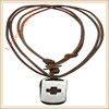 Fashion Hemp Rudder Pendant Charm Genuine Leather Necklace for men