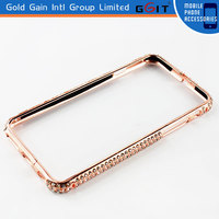 Beautiful Metal Bumper Case With Diamond for iPhone 6,Bling Diamond Frame Bumper Case of Metal Material for iPhone 6