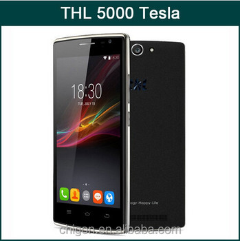 "Original THL 5000T wholesale Tesla MTK6592M 1.4GHz Octa Core 5"" 1280*720p 1G RAM 8G ROM 13.0MP Rear Camera 3G Mobile phone"