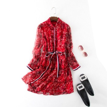 New hot sales flower printing red leaves woman fashion dresses 2017 summer