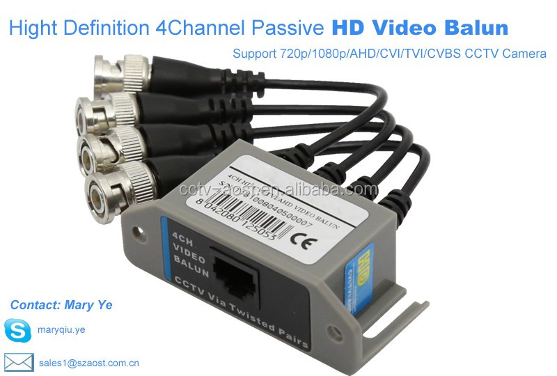 AOST 4CHannel passive high definition AHD CVI TVI video balun transmitter used for HD cctv Camera
