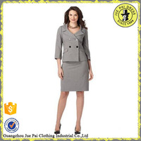 2014 lastest dark grey T/R business suit for women skirt