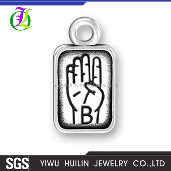 CN185778 Yiwu Huilin jewelry Letter B Pendant Charms Jewelry custom gestures jewelry pendants