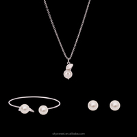 Alibaba hot simple cheap pearl necklace and earring set,skysweet lady jewelry wholesale(PR627)