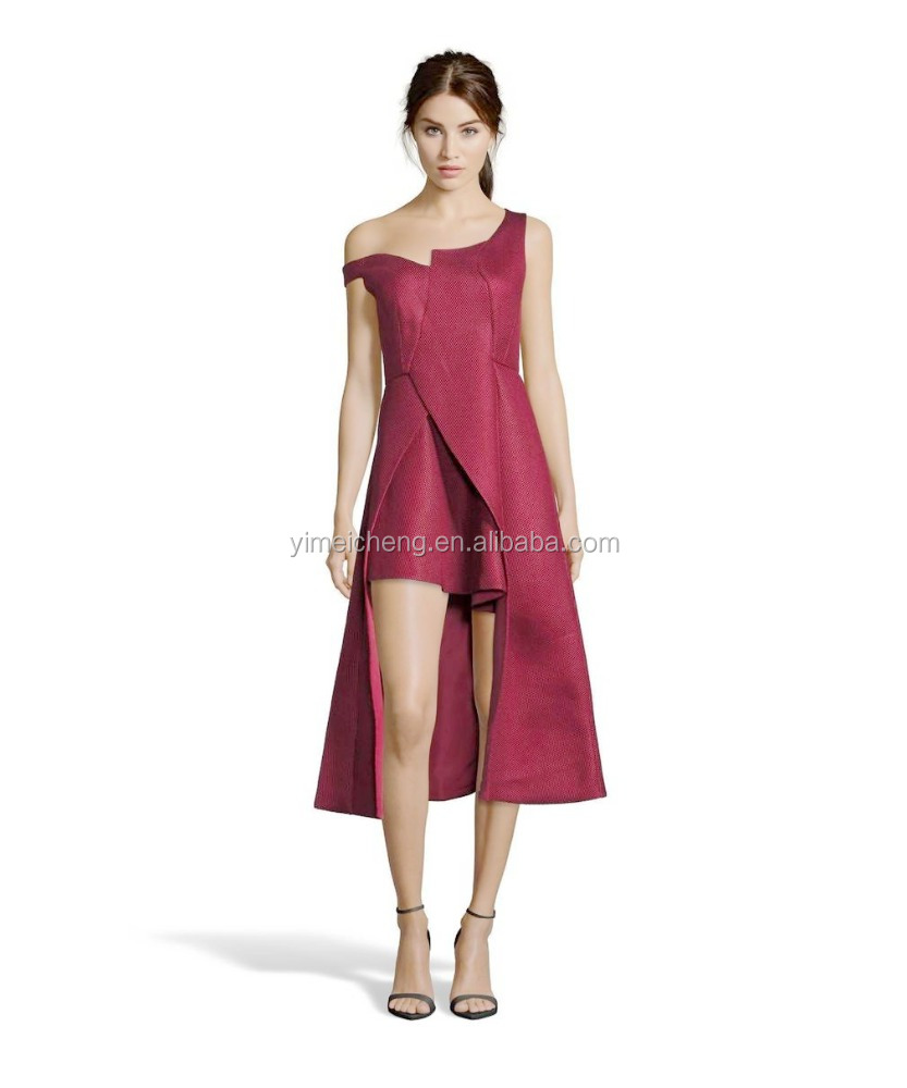 Deep red sleeveless beautiful evening dresses top quality women's mini prom dress