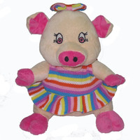19cm Animal design sitting plush animal with pink pig with dress