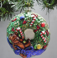 elegant design christmas glass bear decorations in wreath