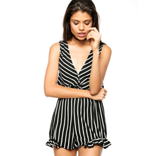 Black Stripe V Neck One Piece Spandex Jumpsuit Pictures Of Sexy Girls Wearing Women Jumpsuits And Rompers