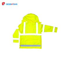 High quality new design waterproof fireproof safety reflective fleece lined raincoat with zipper and pockets