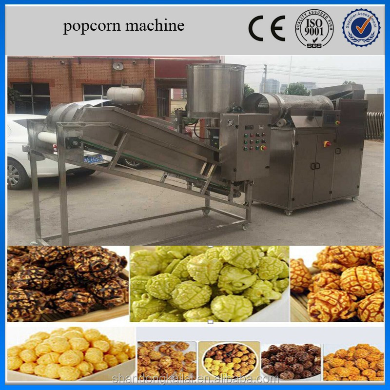 fully automatic commercial large Caramel popcorn popper machine/ hot air popcorn production line