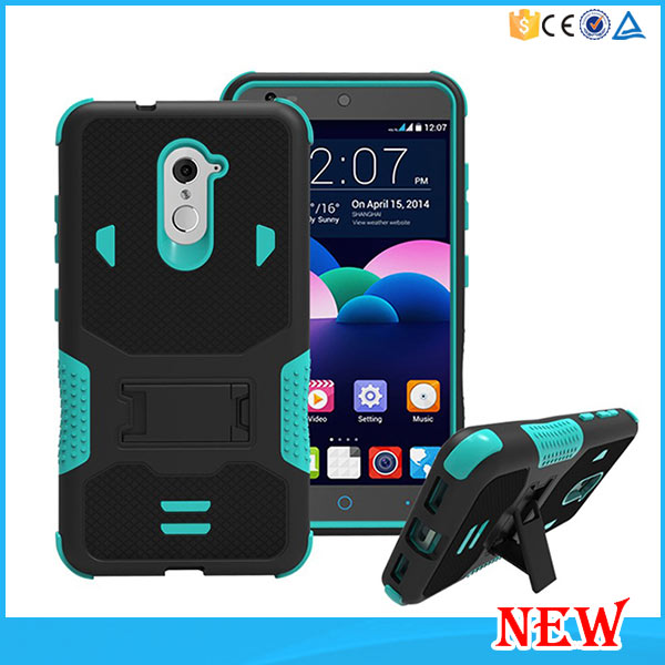 2 in 1 PC Silicone Hybrid Dual Layer Defender Stand Case For ZTE Grand X MAX 2 Z988 /ZMAX PRO