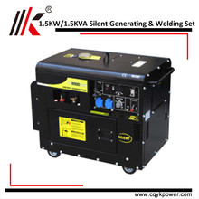 FACTORY GENERATING AND WELDING SET WITH SMALL SILENT GENERATOR 1.5 KVA