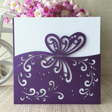 Square Dark Purple Laser-cut Lace Butterfly Pattern Wedding Invitations Cards New style baby shower invitation